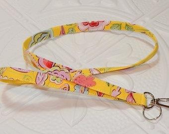 Lanyard - Fabric Lanyard - Teacher Lanyard - Key Lanyard - Yellow Print