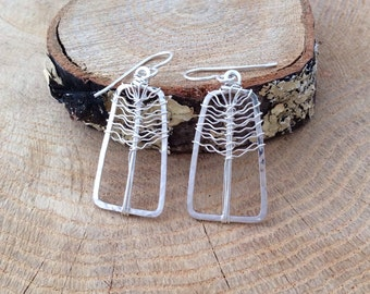 Tree of Life Earrings Argentium Sterling Silver Rectangle