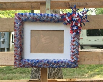 4th of July Picture Frame Independence Day July 4th 5x7 Glam Picture Frame Ribbon Picture Frame Patriotic Picture Frame Glitter PictureFrame
