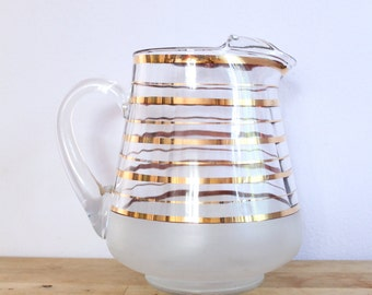 Mid Century Gold Stripe Frosted Glass Pitcher