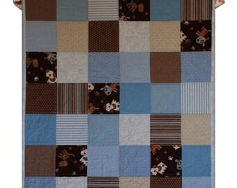 Quilt modern baby kid bedding crib size boy blue brown white dog- ready to ship