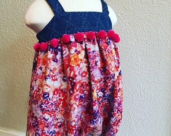 Linen Floral & Denim Emma Bubble - Handmade w/PomPom Trim