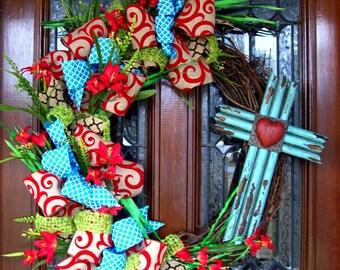 Turquoise & Red Cross Wicker Wreath