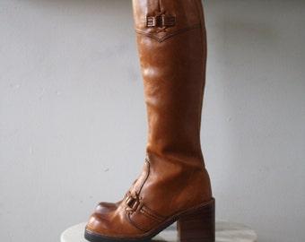 Boots PLATFORM Brown Leather - 7 Women's - 1970s Vintage