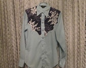 Vintage Western Wear Blue Floral Yoke Unisex Shirt Pearl Snap Size Small Shirt