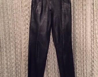 Vintage Women Black Leather Pants Size 8 10 / Saks Fifth Avenue Leather Pants
