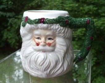 White Santa Christmas Mug with Green Holly Garland