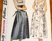 Simplicity 2478 Sundress, Day Dress with Flounce or Scallop Neckline, Women's Misses Vintage 1940 Sewing Pattern Bust 38 Uncut Factory Folds