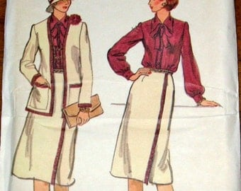 Vogue 9712 Tie Collar Blouse, Wrap Skirt, Cardigan Jacket Vintage 1970s Womens Misses Sewing Pattern Size 10 Bust 32 Uncut Factory Folds
