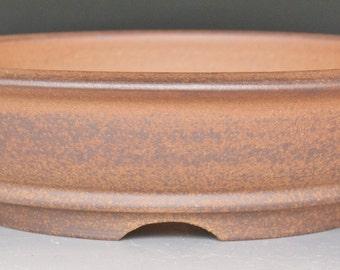 Round Bonsai Pot Unglazed Red Stoneware