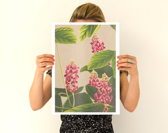 Dotted Oriental Flowers Poster, flowers Flower art,Wall art poster, Spring celebration ar1t, Giclee art BFL152WA3