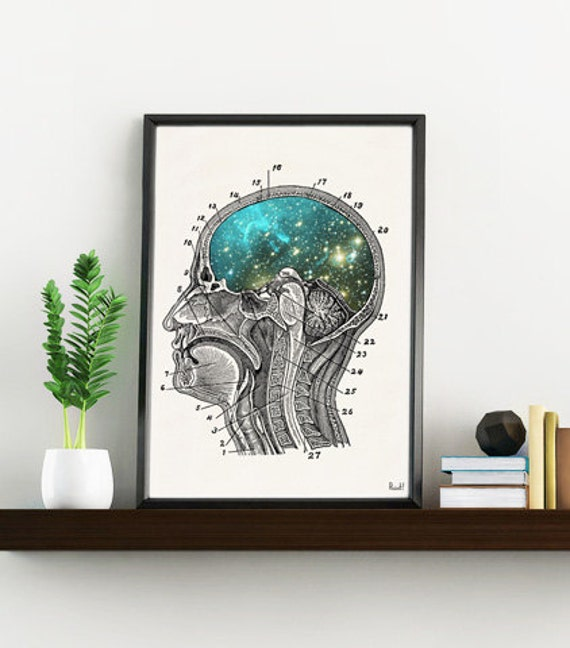Summer Sale Cosmic Brain collage Gift for science student. Wall decor- Doctors gift-Wall art Human Anatomy Galaxy art print SKA112WA4