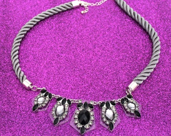 Rhinestone Statement Necklace / Black + Gray + Silver / Acrylic Bib Necklace /  Rope Chain / Glamourous Necklace / Wedding Necklace