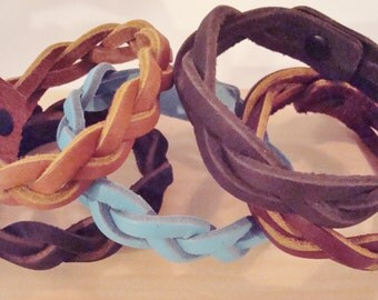 Real Leather Braided Bracelets