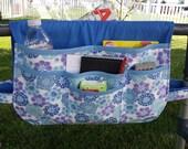 RESERVED for Lisa S. Walker Bag, Walker Bags, Walker Organizer, Walker Caddy, Walker Tote, Lots of Pockets, Whimiscal Blue Garden