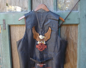 Vintage 70's Leather Biker Vest with HOG, Harley Eagle, Rolling Stones & The Doors Patches