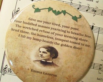 American Poet - Emma Lazarus - The New Colossus - Statue of Liberty Poem - Magnet Large 3.50 Inches, Party Favor Magnets