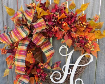 Fall Wreath,NEW Fall Wreath with Hydrangea and Yellow, Fall Burgundy , Monogram Wreath, Letter Wreath, Horn's Handmade, Etsy Wreath