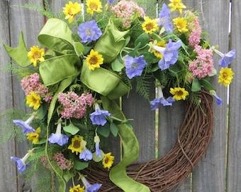 Door Wreath - Wreath Great Spring and Summer - Front Door Wreath, Housewarming Gift, Baby Gift, Mother's Day Gift