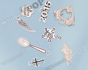 10 - SALE Mixed Lot Mystery Tibetan Silver Charms, Pendant Charms, Various Sizes and Styles