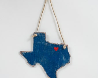Mini Wooden State, Hanging- Distressed, Unique Gift, State Pride, Texas