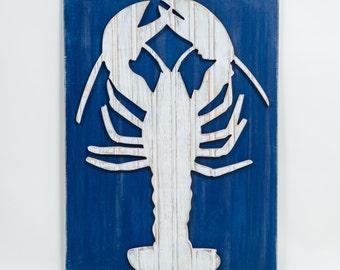 Lobster Distressed Antique Bead Board Wall Art, Coastal Decor