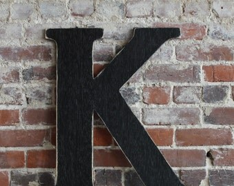 "24"" Wooden Letter K, Classic Font, Distressed, Modern Rustic - all letters available in many colors"