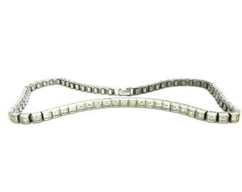 Art Deco Necklace. Dorsons Choker. Rhodium Sterling Silver. Princess Cut, Channel Set Rhinestone Crystals.  1940s Vintage Wedding Jewelry