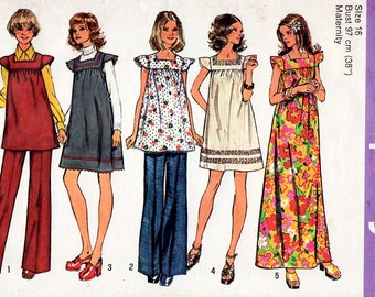 1970s Maternity Dress, Tunic and Pants Pattern Simplicity 5756 Vintage Sewing Pattern Square Neckline Short Peasant Smock Dress Bust 38