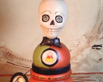 Folk Art One of a Kind skeleton pumpkin jol Candy Container Vintage Style HAFAIR Penny Grotz dias de los muertos