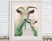 Two clever goats with spectacles, Animal Painting, Decorative Art, Goat Print, Goat Painting, Kids Room, Bubblegum, Goat Poster