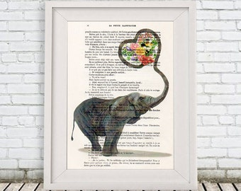 Elephant Love Digital Print Mixed Media Illustration Print Art Poster Acrylic Painting Holiday Decor Drawing Illustration Gift For Her