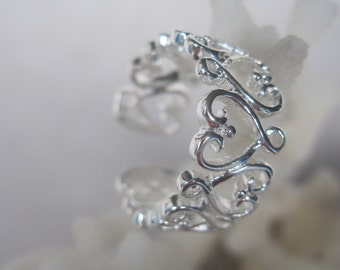 Silver Swirling Hearts Comfortable and Adjustable Ring