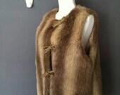Vegan Huntress Vest *1970's Sleeveless Faux Fur Tunic Vest