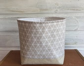 Fabric Storage Basket Modern Geometric Light Grey