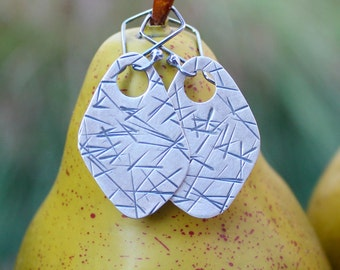 Large Silver Earrings: Fine Silver (.999) Organic Diamonds. Hand Forged. Hammered, Textured, Sanded, Oxidized. Artsy. Hippie. Shabby Chic!