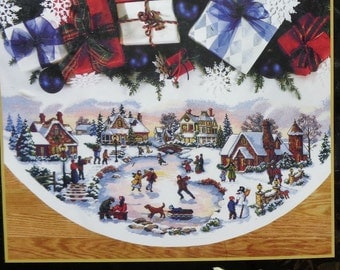 Dimensions The Gold Collection SKATER'S VILLAGE Christmas Tree Skirt or Table Cover Counted Cross Stitch Kit - Very RARE