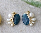14k Solid gold: Apatite & freshwater pearl wire wrapped cluster studs earrings - petite