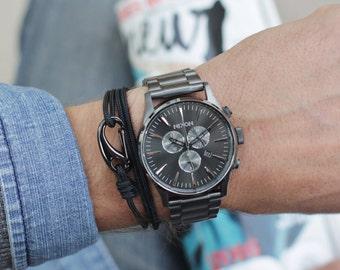 Christmas Gifts for Men - Black bracelet for men, naval rope - cord bracelet for men - hook bracelet for men - carabiner hook bracelet