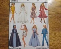 1980's Barbie Doll Fashion Wardrobe - Dresses, Jumpsuit, Wedding Gown - UNCUT Vintage Sewing Pattern Simplicity 8333
