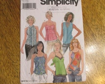 SEXY Summer Tops - Backless Tank Top, Drawstring Tank Top, Halter Blouse - Size (4 - 6 - 8 - 10) - UNCUT Sewing Pattern Simplicity 9563