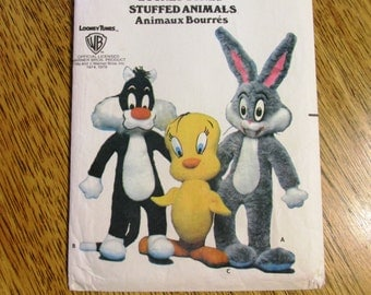 SYLVESTER, Tweety Bird and Bugs Bunny Stuffed Animals - Looney Tunes Toys - UNCUT Vintage Sewing Pattern Butterick 6347