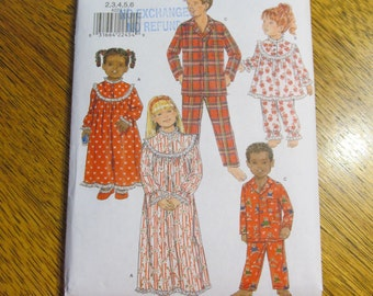KIDS Traditional Nightgown & Pajamas for Boys + Girls - Size 2 - 3 - 4 - 5 - 6 - UNCUT Sewing Pattern Butterick 4222