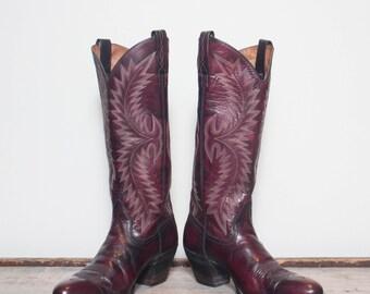 6 C | Women's Dan Post Tall Burgundy Western Cowboy Boots Made in Spain