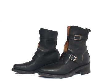 9 - 9 1/2 | Women's Vintage Harley Davidson Boots Strap And Buckle Motorcycle Boot