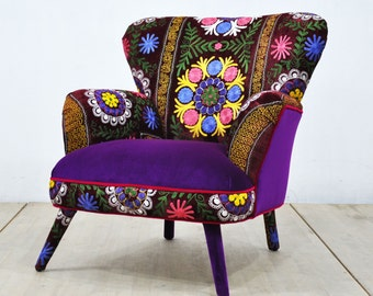 Suzani Armchair - purple sun