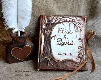 Rustic Wedding guest book, Tree of life guest book, Wedding guest book and pen set, Pen holder, feather pen, Personalized guest book,