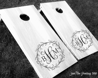 Cornhole Decals - Wedding Monogram Corn Hole Decal Set - Vinyl Decals for Cornhole Game Boards Decals Only- Wedding Decor Cornhole Decals