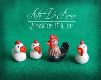 Chickens and Rooster Cake Topper Figurines