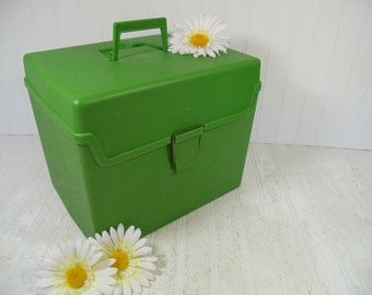 Retro Lime Green Plastic Oversized File Carrier - Vintage Groovy Apple Green Large Square Craft Supplies Chest - Light Weight Office Storage